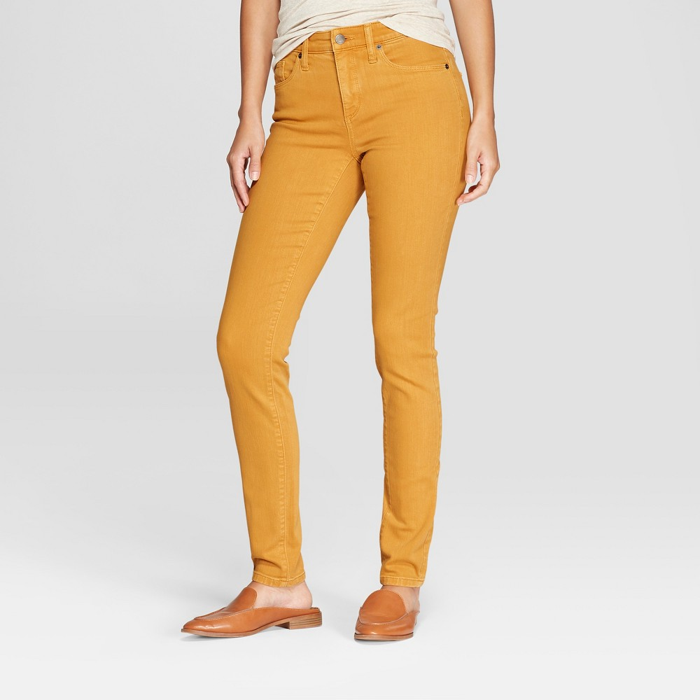 Women's High-Rise Skinny Jeans - Universal Thread Yellow 4 Long