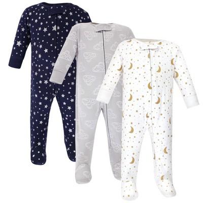 Hudson Baby Baby Cotton Zipper Sleep and Play 3pk, Navy Stars Moons