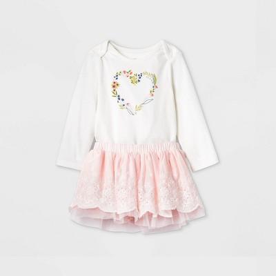 Baby Girls' Eyelet Long Sleeve Bodysuit & Skirt Set - Cat & Jack™ Cream