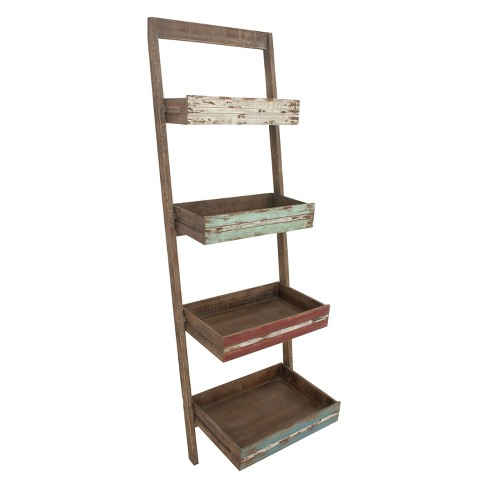 "70"" Wood 4 Shelf Leaning Shelf Book Shelf Brown - Olivia & May - image 1 of 4"