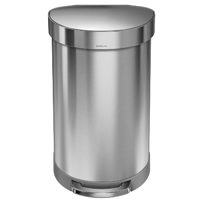 simplehuman 45 ltr Semi-Round Step Trash Can - Brushed Stainless Steel
