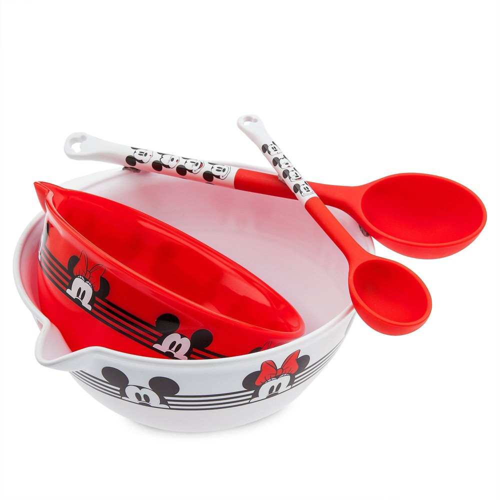 Image of Disney Mickey and Minnie 4pc Plastic Mixing Bowl and Spoon Set
