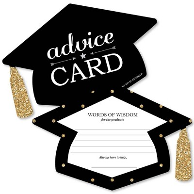Big Dot of Happiness Gold - Tassel Worth the Hassle - Grad Cap Wish Card Graduation Party Activities - Shaped Advice Cards Games - Set of 20