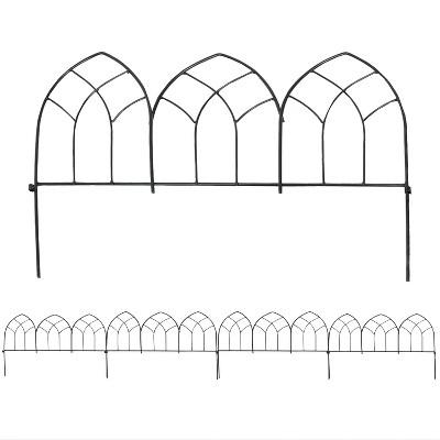 Sunnydaze Outdoor Lawn and Garden Metal Narbonne Style Decorative Border Fence Panel Set - 9' - Black - 5pk