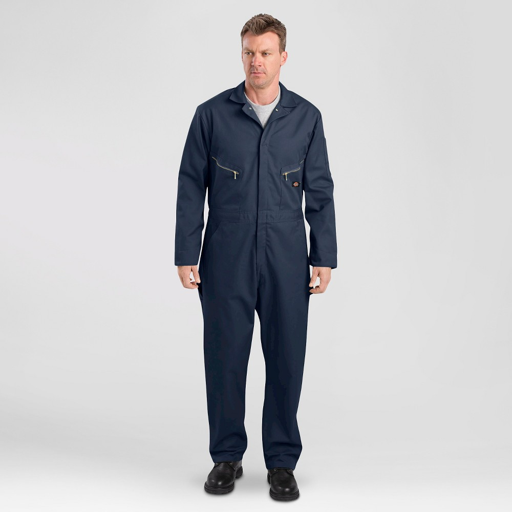 Dickies Men's Big & Tall Deluxe Long Sleeve Blended Twill Coverall- Dark Navy 4XL