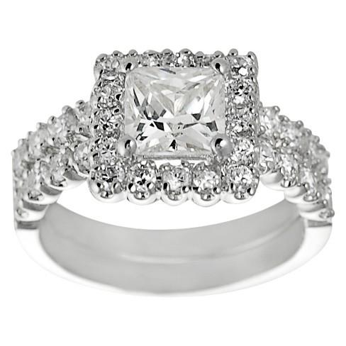 Tressa Collection Pave Set Princess Cut Cubic Zirconia Wedding Ring