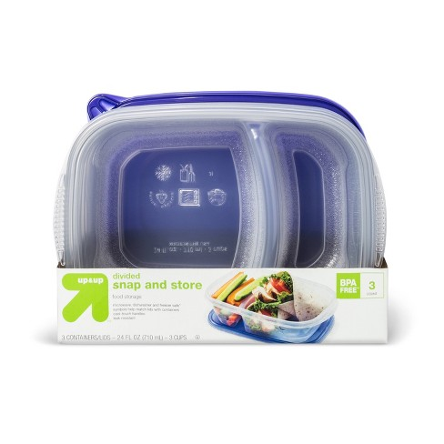 Snap And Store Divided Rectangle Food Storage Container - 3ct/24 fl oz - Up&Up™ - image 1 of 1