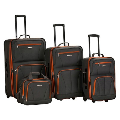 Rockland Journey 4pc Luggage Set - Charcoal