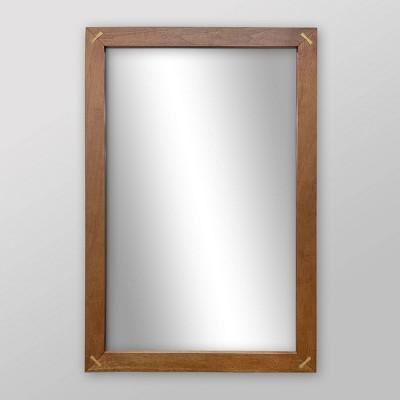 "24"" x 36"" Wooden Wall Mirror Brown - Threshold™"