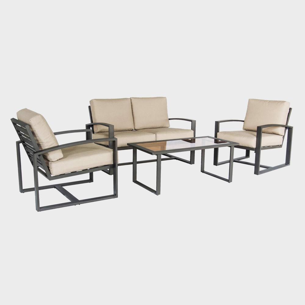 Jasper 4pc Metal Patio Seating Set - Brown/Tan - Leisure Made