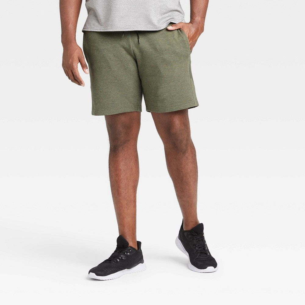 Men's Premium Fleece Shorts - All in Motion Olive Green XXL, Green Green was $22.0 now $14.3 (35.0% off)