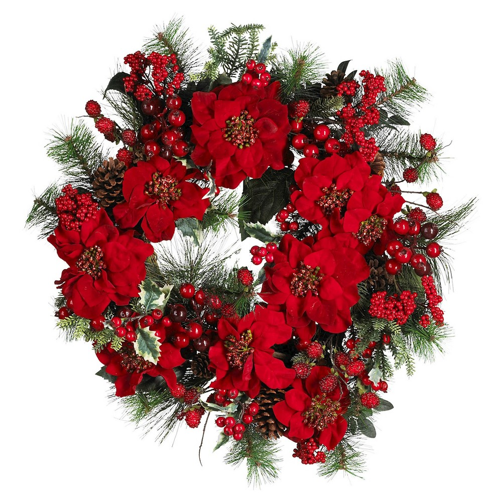 "Image of ""24"""" Poinsettia Wreath - Nearly Natural"""