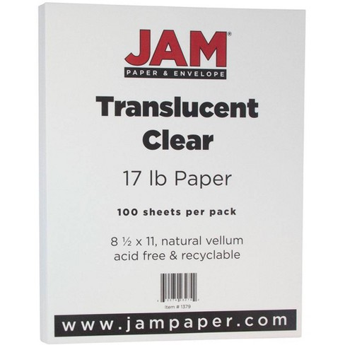JAM Paper Translucent Vellum 17lb Paper - 8.5 x 11 - Clear - 100 Sheets - image 1 of 3