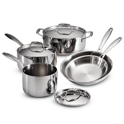 Tramontina Gourmet Tri-Ply Clad Induction-Ready Stainless Steel 8 pc Cookware Set