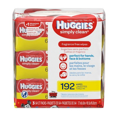 Huggies Simply Clean 3pk Baby Wipes - 192ct