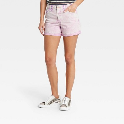 Women's High-Rise Midi Jean Shorts - Universal Thread™ Acid Wash Purple