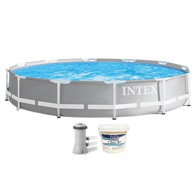 Intex 26711EH 12ft x 30in Prism Metal Frame Above Ground Swimming Pool with Filter Pump & 3 Inch Chlorine Tabs, 25 lbs (No Filter Pump Included)