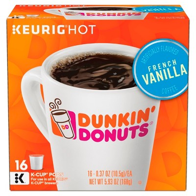 Dunkin' Donuts French Vanilla Medium Roast Coffee - Keurig K-Cup Pods - 16ct