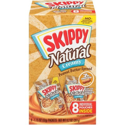 Skippy Natural Creamy Peanut Butter Individual Squeeze Packs – 1.15oz/8pk