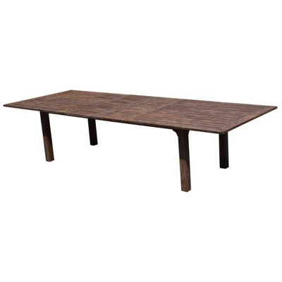 Extension Teak Rectangle Dining Table with Umbrella Holes - Taupe - Courtyard Casual