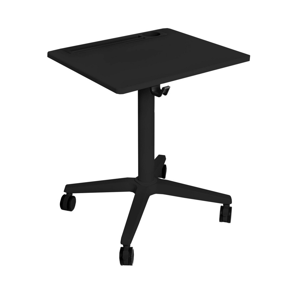Image of Airlift Height Adjustable Sit/Stand Mobile Desk with Cup Holder Black - Seville Classics