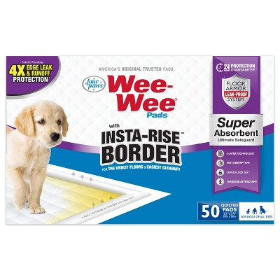 Four Paws Wee-Wee Insta Rise Border Dog Pads - 50ct