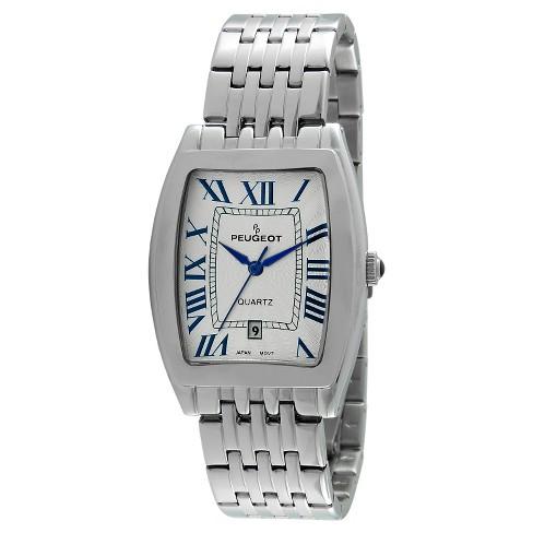 Men's Peugeot Tonneau Case Guilloch Dial Watch - Silver - image 1 of 2