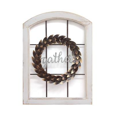 Stratton Home Decor Gather Bronze Wreath Window Wall Decor, Distressed White