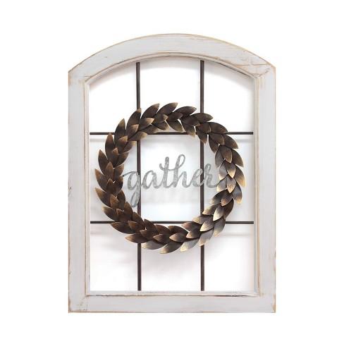 Stratton Home Decor Gather Bronze Wreath Window Wall Decor Distressed White