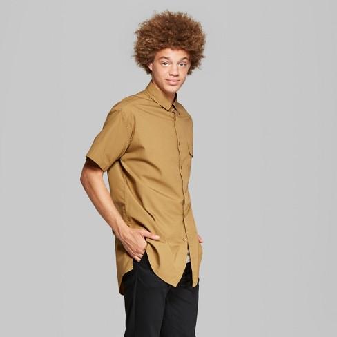 Men's Short Sleeve Long Line Button-Down Shirt - Original Use™ Dapper Brown  L