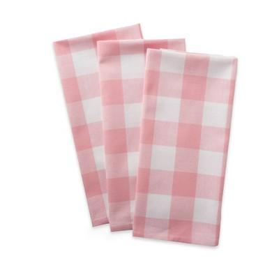 3pk Cotton Buffalo Check Dishtowels Pink - Design Imports