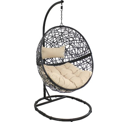 Jackson Hanging Egg Chair with Seat Cushions and Stand - Beige - Sunnydaze