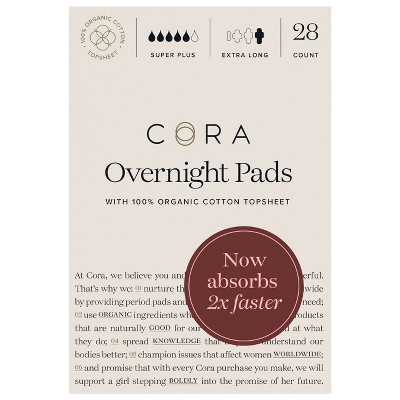 Cora Organic Cotton Super Absorbency Overnight Pads for Periods - 28ct