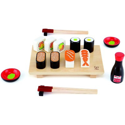 Hape E3130 Sushi Selection Kids Wooden Pretend Kitchen Play Food and Accessories Set with Sushi Rolls, Chopsticks, Bowls, Soy Sauce, and Serving Board
