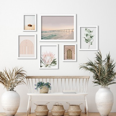 Americanflat Beach Boardwalk by Sisi and Seb 6 Piece Framed Gallery Wall Art Set