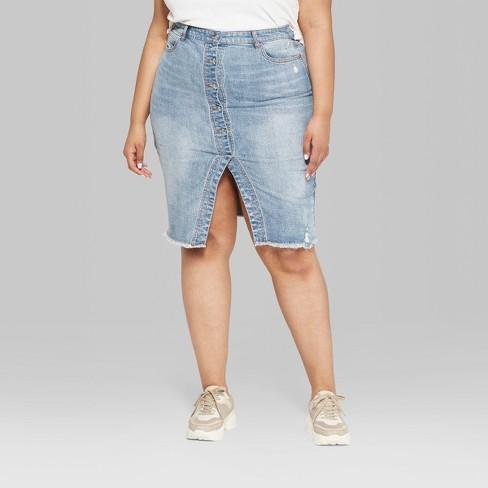 97e15f8c3b3 Women s Plus Size Button-Front Denim Midi Skirt - Wild Fable™ Medium Blue  Wash   Target