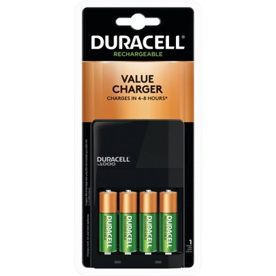 Duracell is1000 Battery Charger for NiMH AA/AAA Rechargeable Batteries - Includes 4 AA Rechargeable Batteries