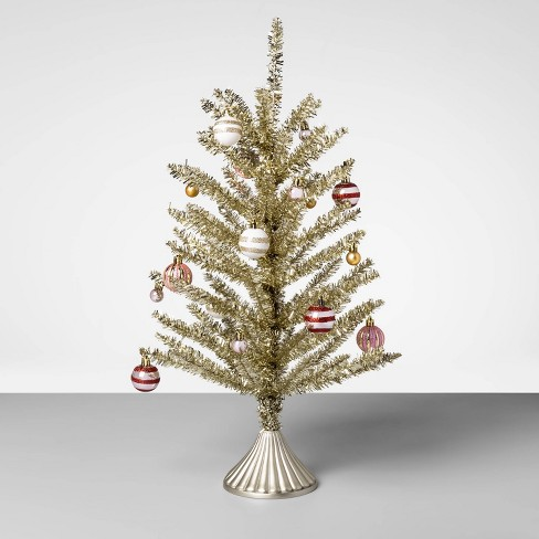 24 Tinsel Christmas Tree With Ornaments Gold Red Opalhouse