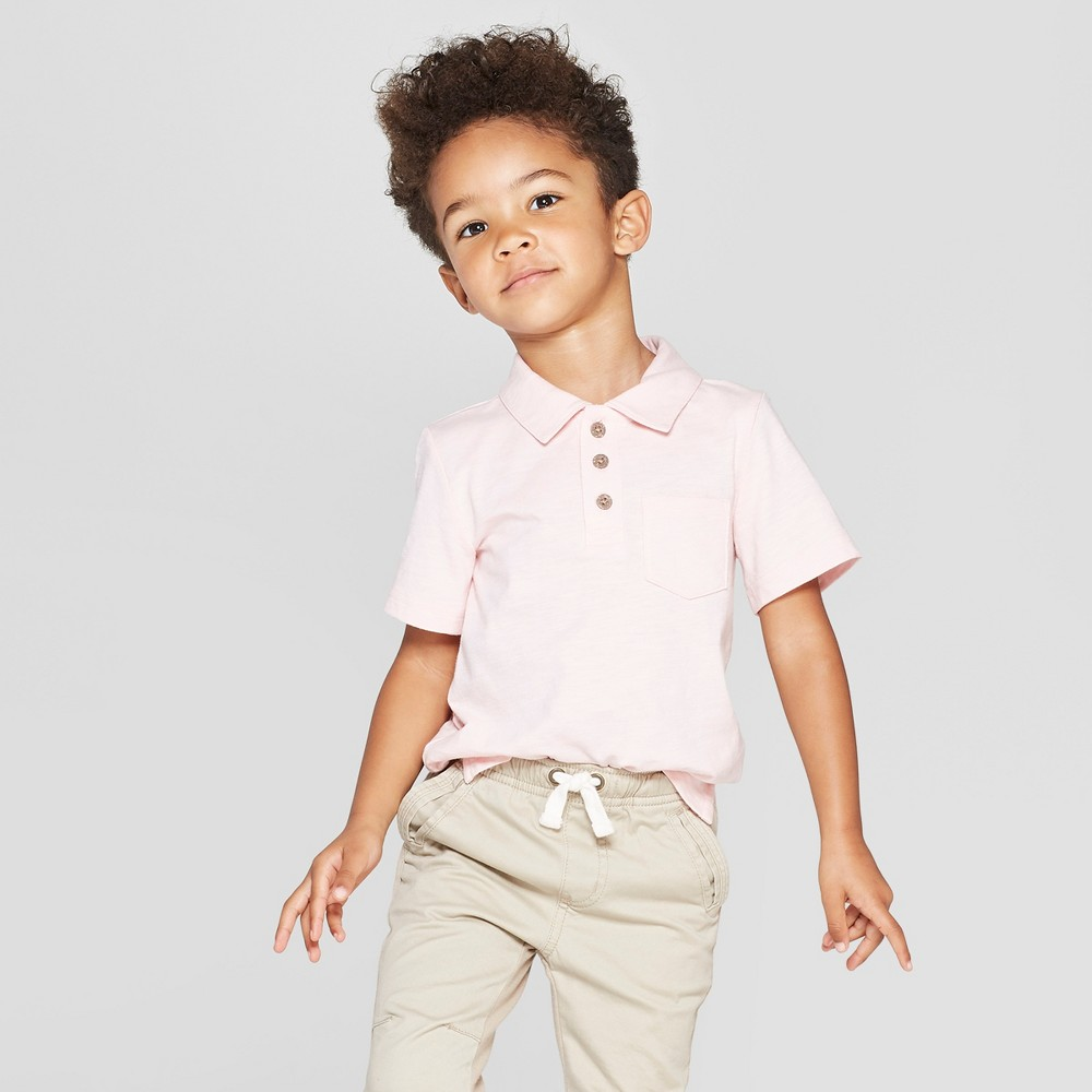 Toddler Boys' Short Sleeve Slub Jersey Polo Shirt - Cat & Jack Pink 5T