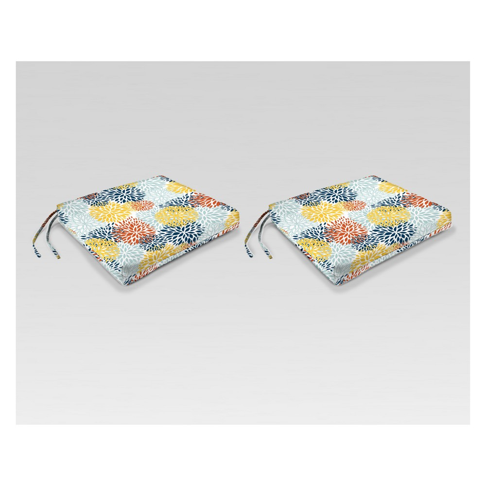 Outdoor Set of 2 French Edge Seat Cushions - Blue/Yellow Burst - Jordan Manufacturing