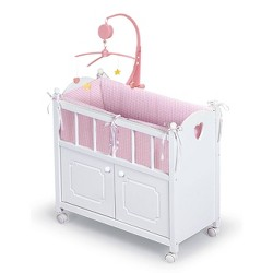 Badger Basket Cabinet Doll Crib with Gingham Bedding and Free Personalization Kit - White/Pink