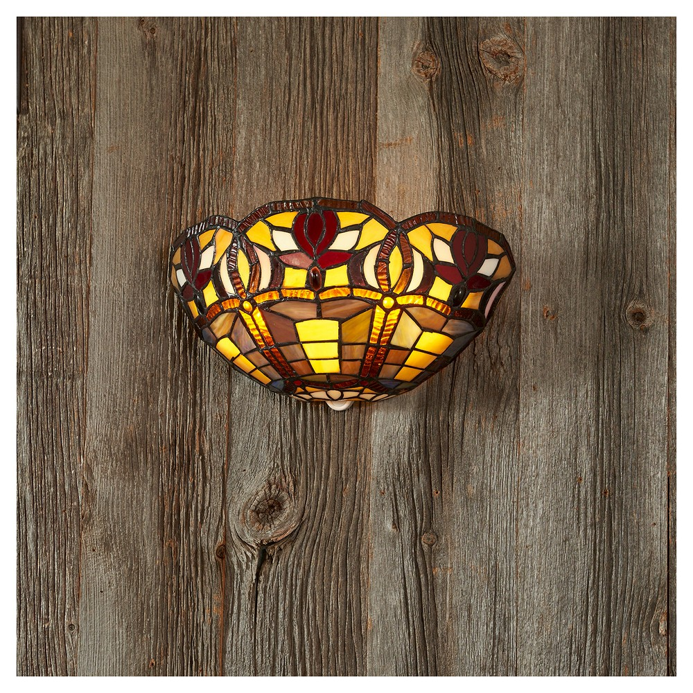 Image of Battery-Operated Stained Glass Half Moon Sconce with 3 Flowers with remote
