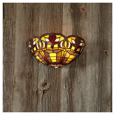 Battery-Operated Stained Glass Half Moon Sconce with 3 Flowers with remote - image 1 of 1