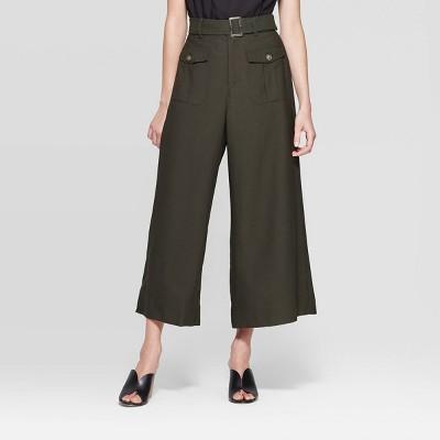 Women's Mid Rise Wide Leg Utility Pants   Who What Wear Green by Rise Wide Leg Utility Pants