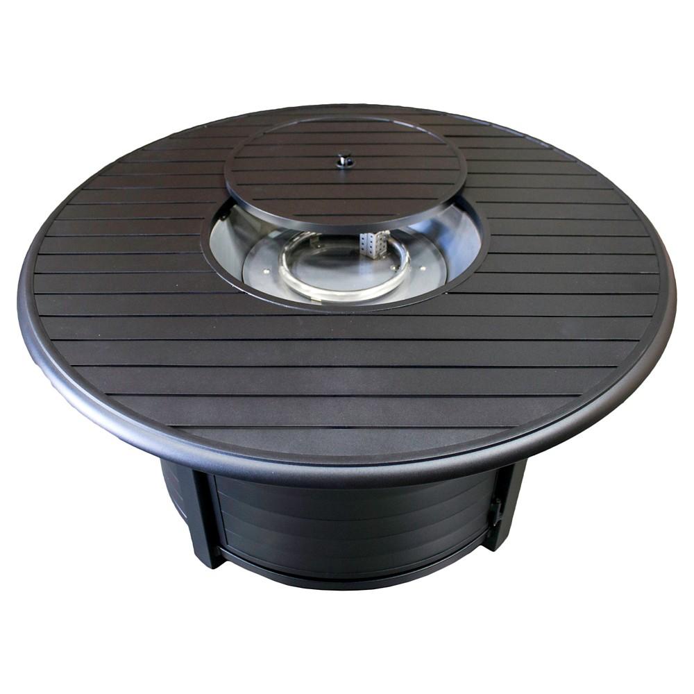 AZ Patio Heaters Round Aluminum Propane Fire Pit - Matte Black