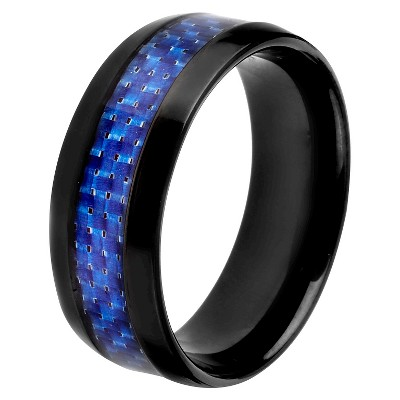 Men's Crucible Black-plated Stainless Steel Carbon Fiber Inlay Band - Blue