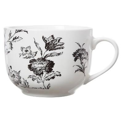 Clay Art Soup Mug 21oz Porcelain - Black Floral