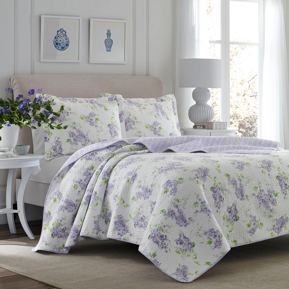 Purple Keighley Quilt Set (Twin) - Laura Ashley, Purple White