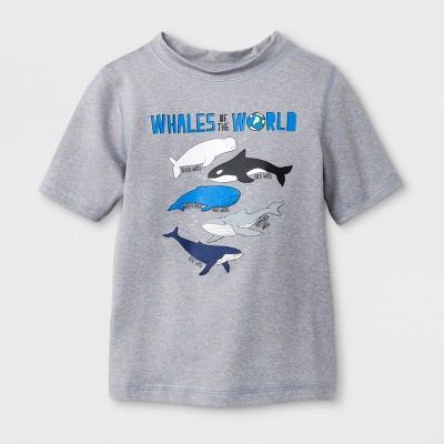 Toddler Boys' Whales Rash Guard - Cat & Jack™ Gray 5T