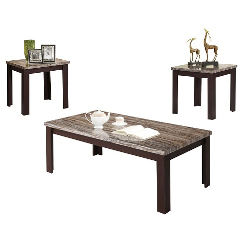 3 Piece Carly Pack Coffee End Table Set Faux Marble and Cherry - ACME - image 1 of 1